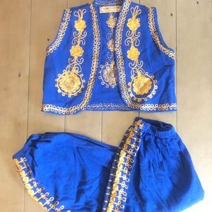 Aladdin Style Two Piece Costume Set Blue, Gold